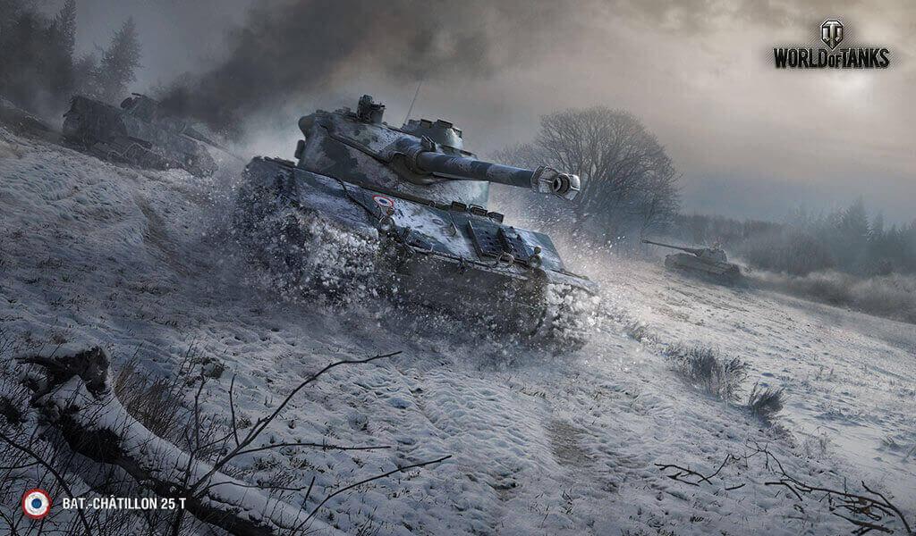 雪道を豪快に走る戦車の壁紙
